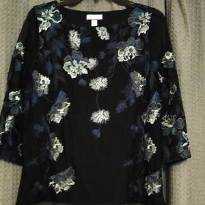 Beautiful black and blue embroidered blouse. NWOT
